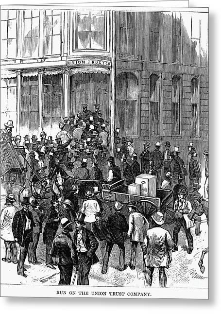 Bank Panic Greeting Cards - Bank Panic, 1873 Greeting Card by Granger