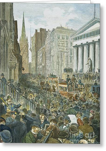 Bankruptcy Greeting Cards - Bank Panic, 1884 Greeting Card by Granger
