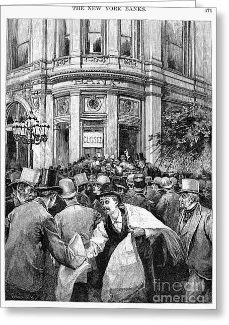 Bank Panic Greeting Cards - Bank Panic, 1890 Greeting Card by Granger