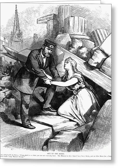 Bank Panic Greeting Cards - Bank Panic Cartoon, 1873 Greeting Card by Granger