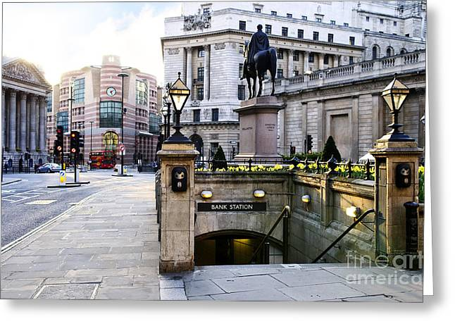 Lampposts Greeting Cards - Bank station entrance in London Greeting Card by Elena Elisseeva