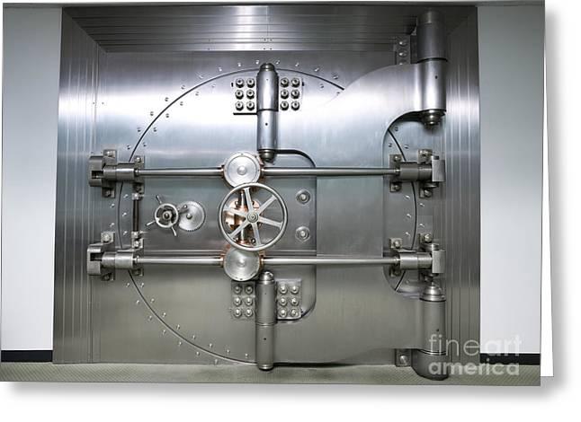Bank Vault Door Exterior Greeting Card by Adam Crowley