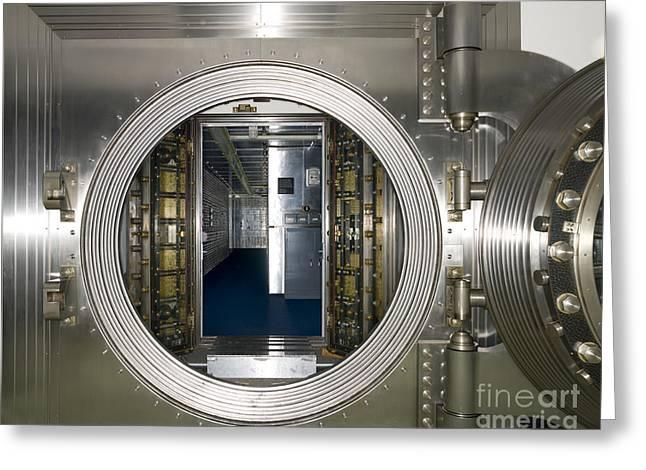 Enterprise Greeting Cards - Bank Vault Interior Greeting Card by Adam Crowley
