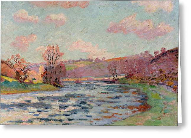 Hues Of Purple Greeting Cards - Banks of the Creuse Greeting Card by Jean Baptiste Armand Guillaumin