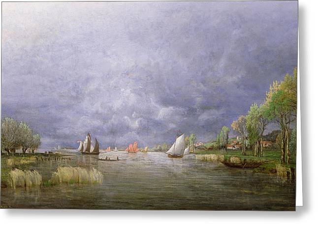 Docked Sailboats Greeting Cards - Banks of the Loire in Spring Greeting Card by Charles Leroux