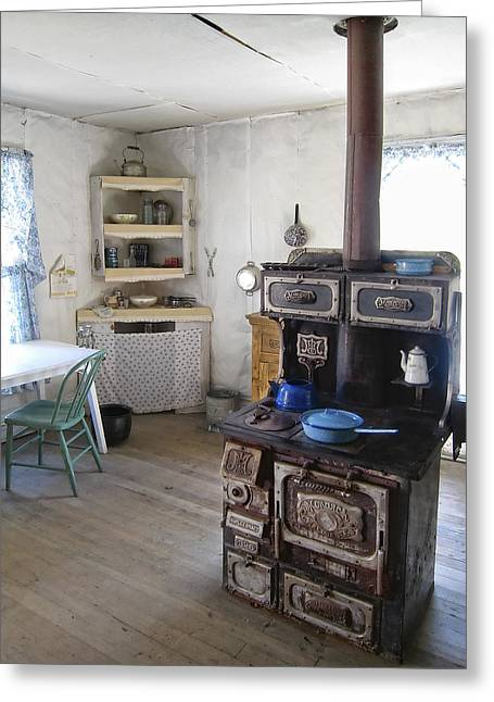 Pioneer Homes Photographs Greeting Cards - BANNACK GHOST TOWN  KITCHEN and STOVE - MONTANA TERRITORY Greeting Card by Daniel Hagerman