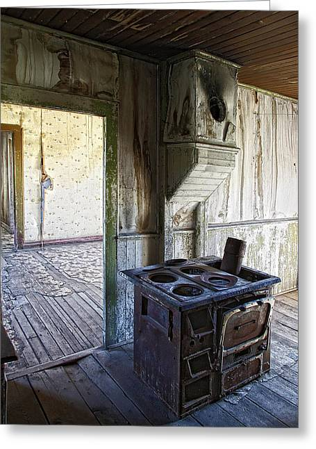 Wood Stove Greeting Cards - Bannack Ghost Town Kitchen Stove 2 Greeting Card by Daniel Hagerman
