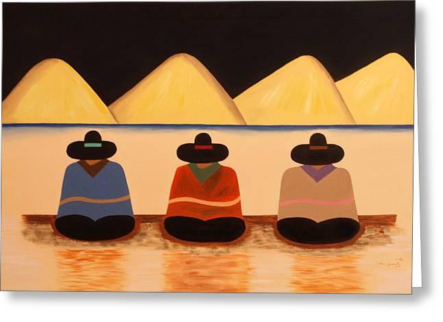 Poncho Paintings Greeting Cards - Banus Greeting Card by Damaris Munoz Arias