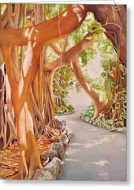 Tree Roots Paintings Greeting Cards - Banyan in the Afternoon Greeting Card by Terry Arroyo Mulrooney