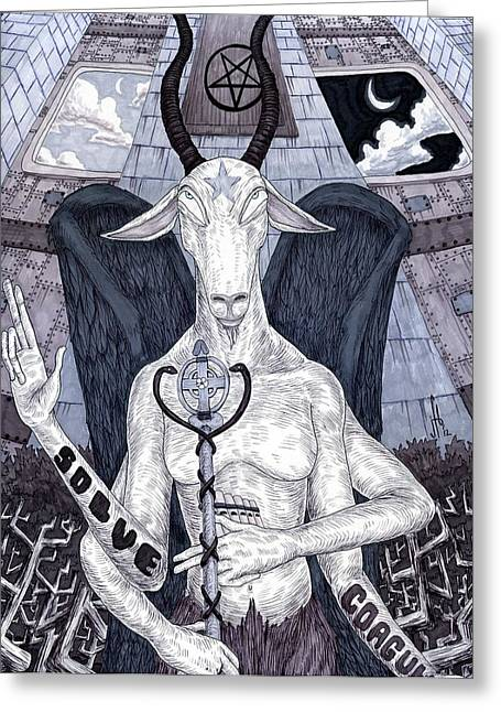 Levi Greeting Cards - Baphomet Greeting Card by Jeremy Baum