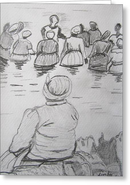 Shango Greeting Cards - Baptism at sea Greeting Card by Jennylynd James