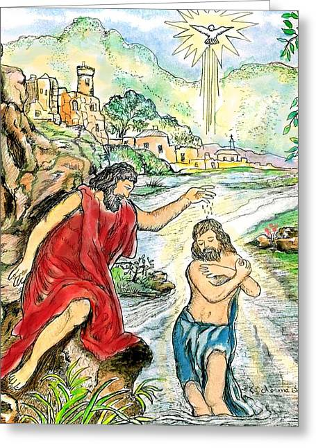 The Christ Ink Drawing Greeting Cards - Baptism of Jesus Greeting Card by Norma Boeckler