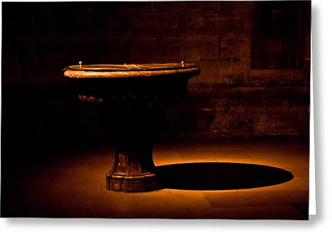Church Fixture Greeting Cards - Baptismal Font Greeting Card by Evelyn Peyton