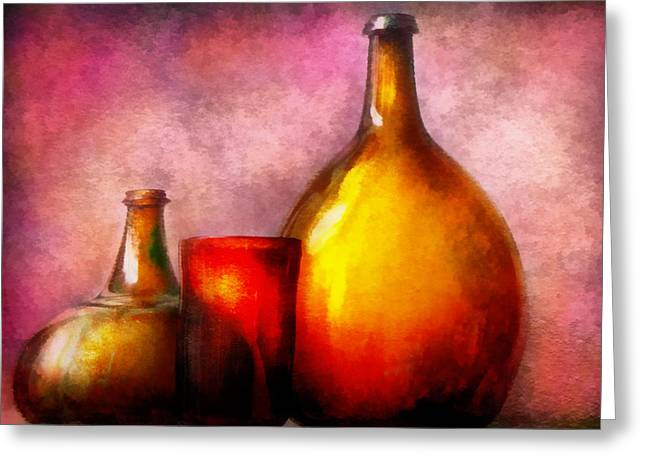 Booze Greeting Cards - Bar - Bottles - A still life of bottles Greeting Card by Mike Savad