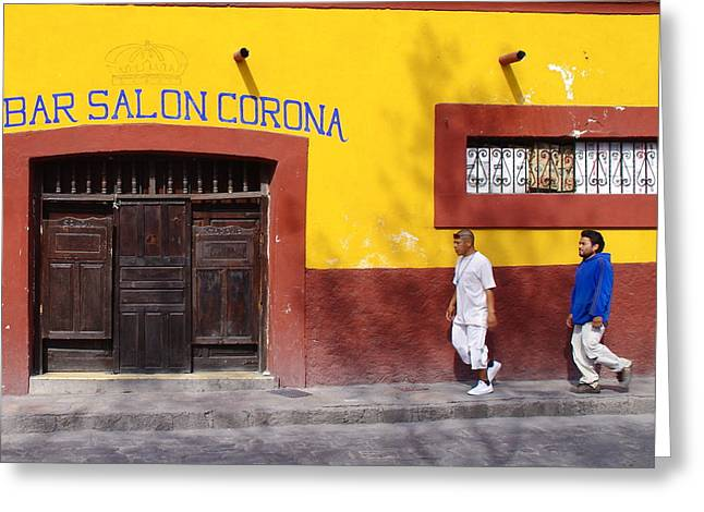 Bar San Miguel Greeting Cards - Bar Salon Corona Greeting Card by Anthony George