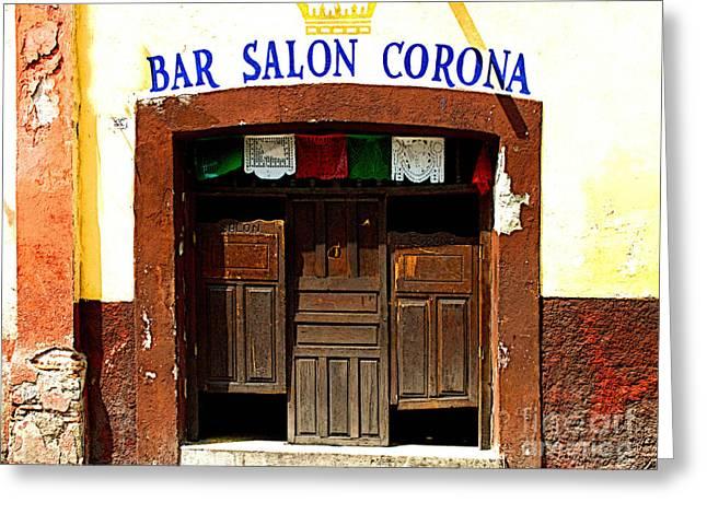 San Miguel De Allende Greeting Cards - Bar Salon Corona Greeting Card by Olden Mexico