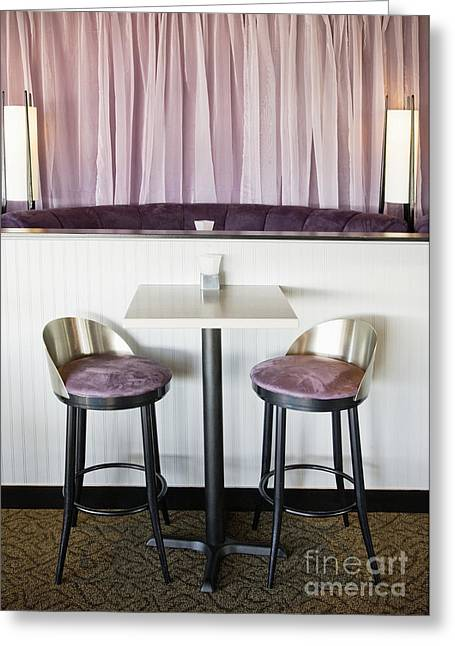 Seattle Taverns Greeting Cards - Bar Table and Chairs Greeting Card by Andersen Ross