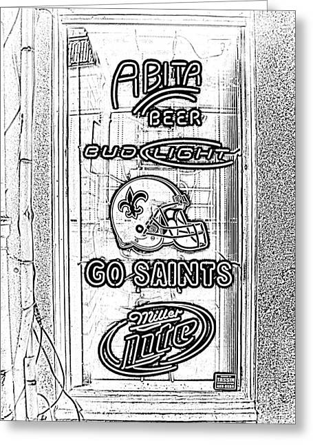 Bar Window Display With Neon Signs In French Quarter New Orleans Photocopy Digital Art Greeting Card by Shawn O'Brien
