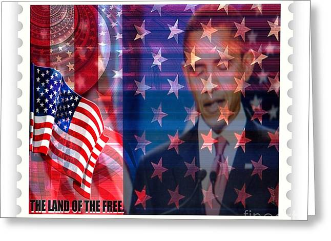 Barack A Stamp Greeting Card by Fania Simon