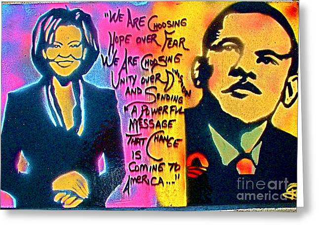Best Sellers -  - Michelle Obama Paintings Greeting Cards - Barack and Michelle Greeting Card by Tony B Conscious