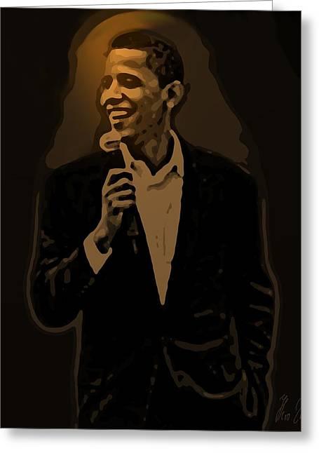 Barack Greeting Cards - Barack Obama Greeting Card by Helmut Rottler