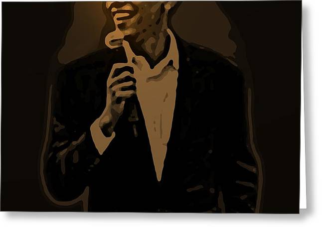 Barack Obama Greeting Card by Helmut Rottler