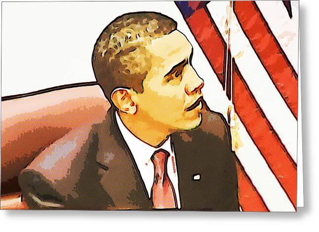 Barack Obama Greeting Card by Susan Leggett