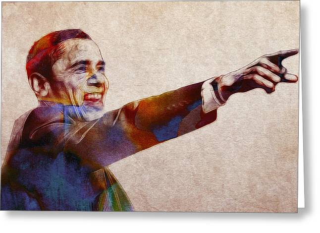 Barack Obama Watercolor Greeting Card by Stefan Kuhn