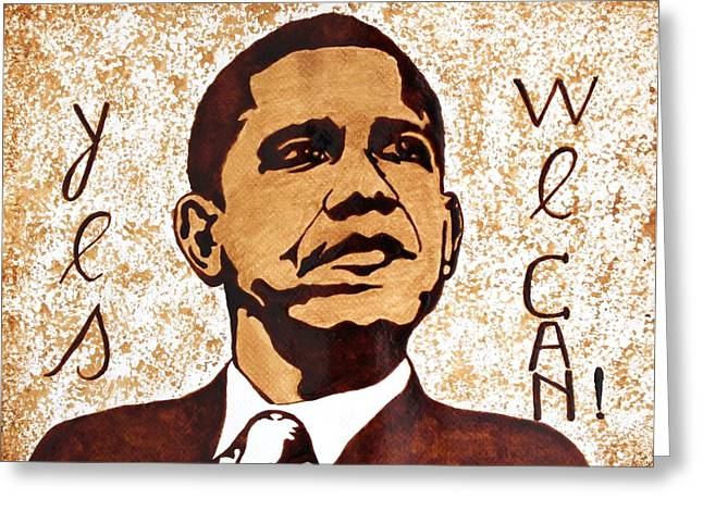 Barack Obama Pop Art Coffee Art Greeting Cards - Barack Obama Words of Wisdom coffee painting Greeting Card by Georgeta  Blanaru