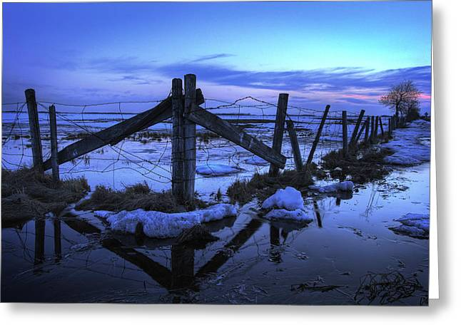 Barbed Wire Fences Greeting Cards - Barbed Wire Fence In Melting Snow, Bon Greeting Card by Dan Jurak