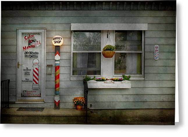 Old Tress Greeting Cards - Barber - Belvidere NJ - A Family Salon Greeting Card by Mike Savad