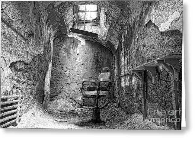 Eastern State Greeting Cards - Barber - Chair - Eastern State Penitentiary - Black and White Greeting Card by Paul Ward