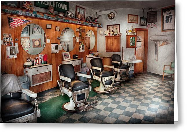 Suburbanscenes Photographs Greeting Cards - Barber - Frenchtown Barbers  Greeting Card by Mike Savad
