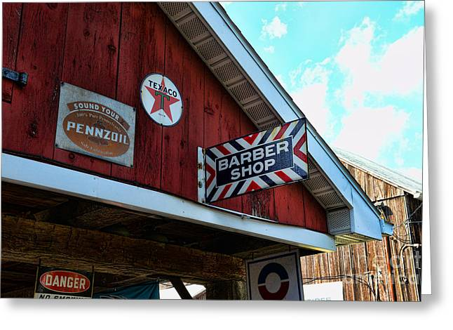 Texaco Sign Greeting Cards - Barber - Old Barber Shop Sign Greeting Card by Paul Ward