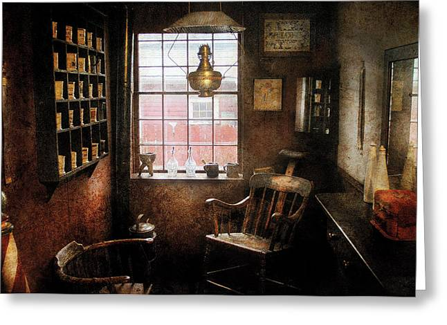 Customizable Greeting Cards - Barber - Remembering the old days Greeting Card by Mike Savad