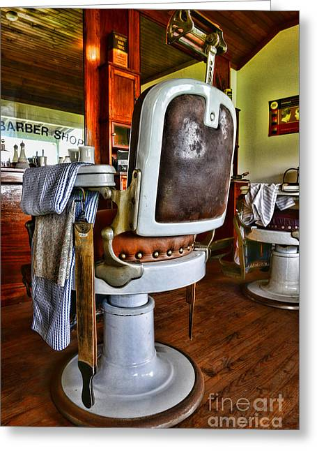 Hair Dresser Greeting Cards - Barber - Barber Chair Greeting Card by Paul Ward