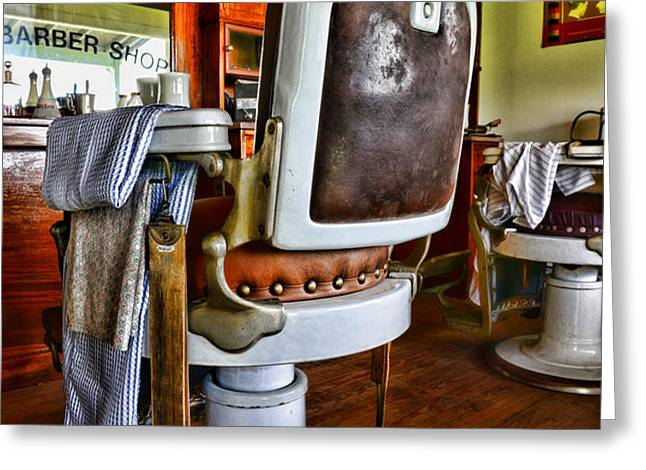 Barber - Barber Chair Greeting Card by Paul Ward