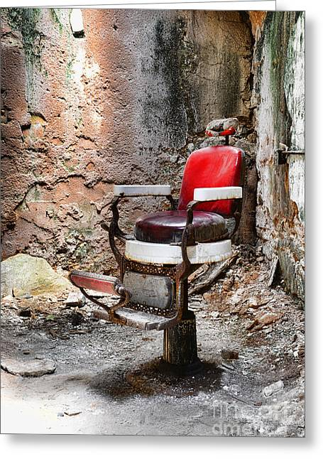 Eastern State Greeting Cards - Barber Chair Greeting Card by Paul Ward