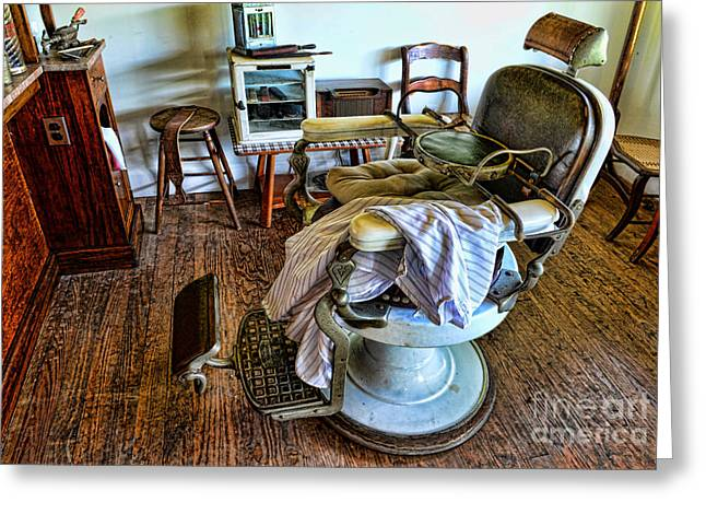 Hair Dresser Greeting Cards - Barber Chair with child booster seat Greeting Card by Paul Ward