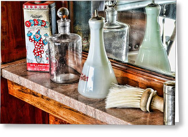 Duster Greeting Cards - Barber - Talc and toilet water Greeting Card by Paul Ward