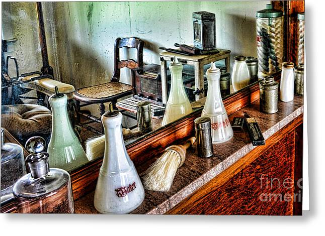 Duster Greeting Cards - Barber - The Barbers Counter Greeting Card by Paul Ward