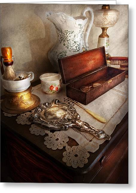 Old Tress Greeting Cards - Barber - The morning ritual Greeting Card by Mike Savad