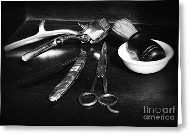 Barber - Things in a barber shop - black and white Greeting Card by Paul Ward