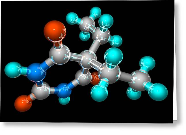 Sedative Greeting Cards - Barbital Barbiturate Drug Molecule Greeting Card by Laguna Design
