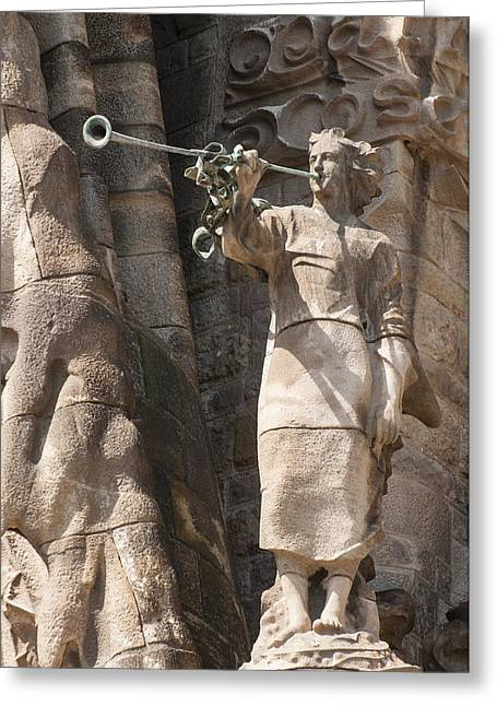 Figure Sculpture Greeting Cards - Barcelona church Sagrada Familia Nativity Facade Detail Greeting Card by Matthias Hauser