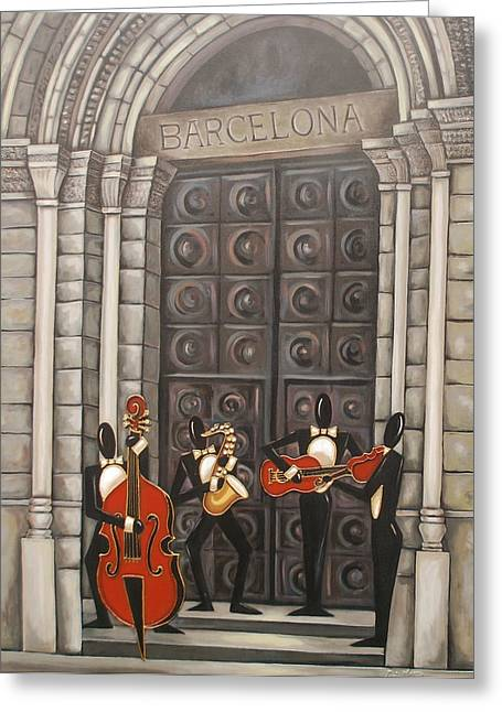 Church Pillars Paintings Greeting Cards - Barcelona Greeting Card by Lori McPhee