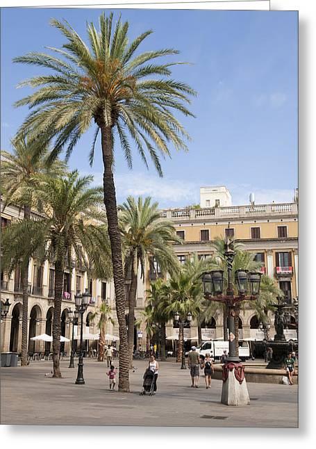 Catalunya Greeting Cards - Barcelona Placa Reial Greeting Card by Matthias Hauser