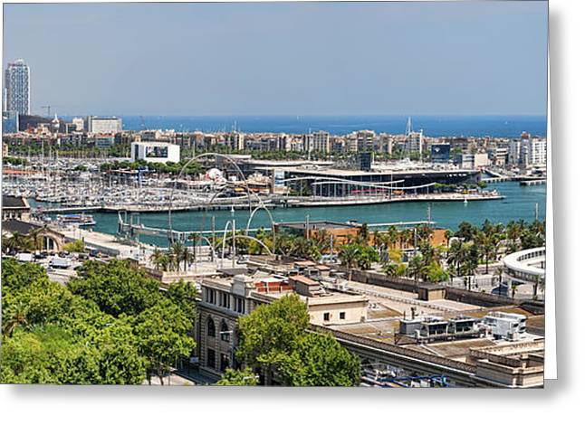 Aerial Tramway Greeting Cards - Barcelona Port Vell Panorama Greeting Card by JH Photo Service