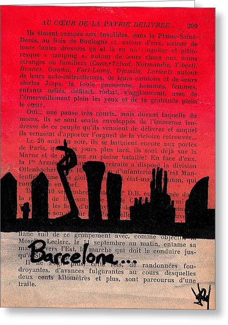Barcelona Drawings Greeting Cards - Barcelona Sunset Greeting Card by Jera Sky