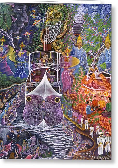 Visionary Art Greeting Cards - Barco Fantasma Greeting Card by Pablo Amaringo